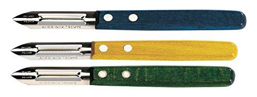 Le Couteau Du Chef Il Coltello del Capo 404600Pelaverdure Legno Colori panaches (Blu, Giallo, Verde) Acciaio Inossidabile Panache 23, 3x 2, 4x 1, 8cm