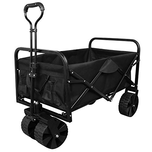 upstartech Carro Plegable Carro de Mano Carrito Carros y vagonetas Carrito Playa Carro Transporte para Jardín hasta Apto para Todo Terreno Marco Acero Carga 80 kg