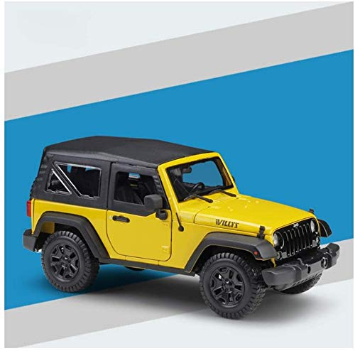 KJAEDL Model Cars For Kids Die-casting Car Model Jeep Wrangler Alloy Die Casting Car Hardcover Display Vehicle 1:18 Suitable (Color : Yellow)