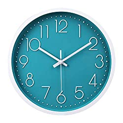 jomparis 12 Inch Silent Non-Ticking Battery Operated Round Turquoise Wall Clock Easy to Read Home/Office/School/Kitchen/Bedroom/Living Room Teal Clocks