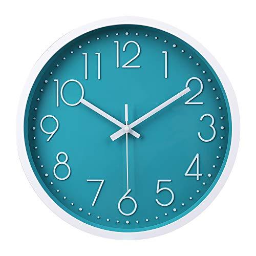 Reloj de Pared Moderno,Grandes Decorativos Silencioso Interior Reloj de Cuarzo de Cuarzo Redondo No-Ticking para Sala de Estar (Azúl,12 Pulgadas, Ø: 30 cm)