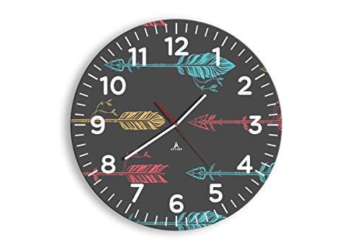 Wanduhr - Rund - Glasuhr - Breite: 50cm, Höhe: 50cm - Bildnummer 3874 - Schleichendes Uhrwerk - lautlos - zum Aufhängen bereit - Kunstdruck - C4AR50x50-3874