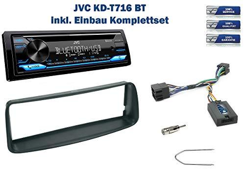 NIQ Autoradio Einbauset geeignet für Peugeot 206 Bj. 2002-2006 inkl. JVC KD-T716BT & Lenkrad Fernbedienung Adapter in Schwarz