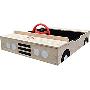 Wooden Car Sandbox with Cover | Outdoor Play Sandbox for Toddlers and Children