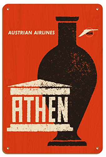 Pacifica Island Art Athènes, Grèce - Amphore Grecque Antique - Austrian Airlines - Affiche Avion de Otto Peterseil c.1965 Enseigne en Bois 20 x 30cm