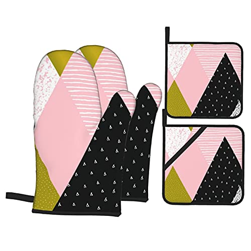 Juego de 4 Guantes de Horno y agarraderas,Composición geométrica Abstracta en Oro Blanco Negro y Rosa Pastel,Utilizado para cocinar,Hornear y Asar a la Parrilla