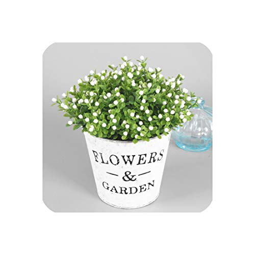 Joyfeel-light 1 Set Flower + Vase Artificial Plant with Iron Bucket Farmhouse Style Table Accessories Christmas Wedding Decoration for Home,Green E