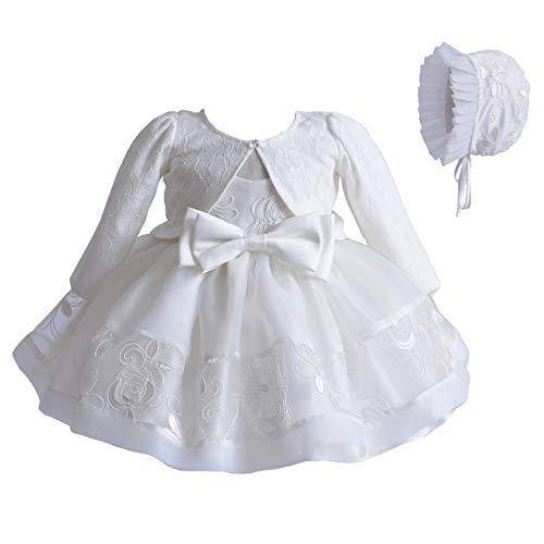 Cinda Elfenbein Spitze Taufe Partei Kleid Mütze Jacke 62-68 mit Jacke
