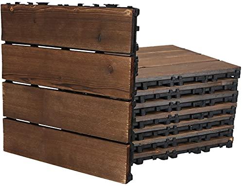 Baldosas de madera Terraza Baldosas 8 piezas de baldosas de madera que se entrelazan, baldosas para terraza, suelo al aire libre, bricolaje, empalmado, anticorrosión, impermeable para patio, jardín,