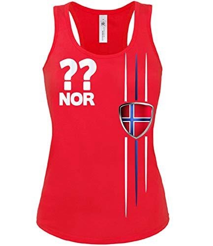 Norwegen Norway Norge Wunsch Zahl Fussball Fußball Trikot Look Jersey Fanshirt Damen Frauen Mädchen Tank Top T-Shirt Tanktop Fan Fanartikel Outfit Bekleidung Oberteil Artikel
