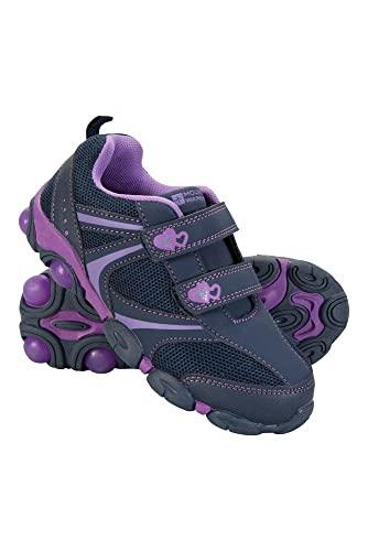 Mountain Warehouse Light Up Zapatos Junior - Zapatos duraderos, Calzado Ligero, Calzado Infantil Transpirable, Ajuste de Gancho y Bucle - para Caminar, Viajar Este Verano Morado 28