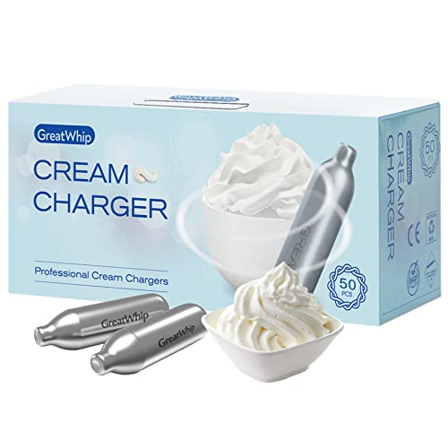 GreatWhip Whipped Cream Charger 500 Count, Original Flavor Nitrous Oxide Cartridges for Whipped Cream Dispenser(10 x 50 Pack)