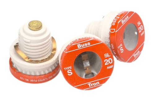 Bussmann BP/SL-20 20 Amp Time Delay Loaded Link Rejection Base Plug Fuse, 125V UL Listed Carded, 3-Pack