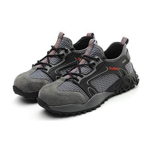 Folconauto Zapatillas de seguridad de acero para hombre y mujer, transpirables, ligeras, zapatillas de deporte, color Gris, talla 43.5 EU