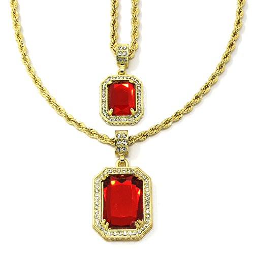 Mens Gold Plated High Fashion Red Rubys 2pcs Bundle Set 30' 24'inch Rope Chains
