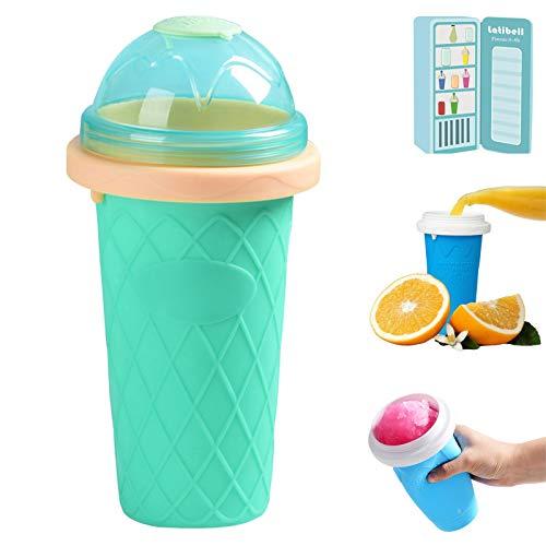 ZZJCY Mini Fabricante Helados Copa Fangosa, Bricolaje Malteada Botella, Estrujar Y Pellizcar Tazas Delicioso Y Diversión, Se Puede Reutilizar, Niños Regalo Verano Silicona Sin BPA,Green b