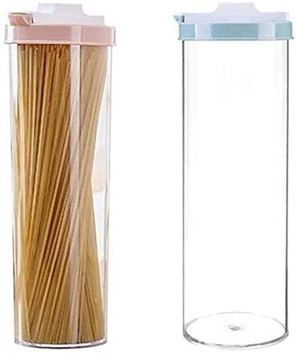 2 PCS Cocina Aparatos de almacenamiento de alimentos, contenedores de la pasta de espaguetis, caja de almacenamiento de fideos, recipiente de cereales, bocadillos Alimentos de azúcar SELLADO Tarro de