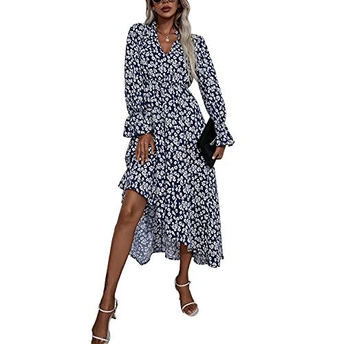 Dazzerake Vestido Largo para Mujer Vestido Elegante con Estampado Floral Mangas Largas Cuello en V Vestido Casual A-Line para Playa Vacaciones Primavera Otoño Moda (Azul Marino, L)