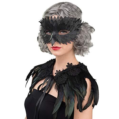 NET TOYS Schöne Rabenmaske für Erwachsene - Schwarz - Schickes Damen-Kostüm-Zubehör Augenmaske Krähe - Einsetzbar für Gruselparty & Karneval
