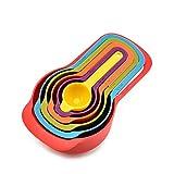 HUANGCHAO 6 unids/set cocina cuchara de medición arco iris color apilable combinación taza de medición accesorios cocina hornear herramientas