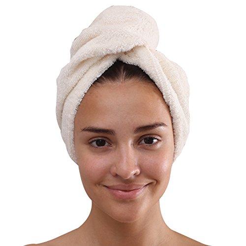 Class Home Collection Frottee Baumwolle Turban Haarturban Kopfhandtuch 27x72 cm mit Knopfverschluss (Creme / Natur)