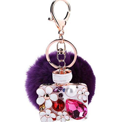 Schlüsselanhänger plüsch Ball glänzend Strass Perle DIY Parfümflasche Plüsch-Kugel Autoschlüssel-Anhänger Pompom Glitzer Weich Schlüsselring bommel Keychain Handtaschenanhänger Dekor (Violet-A)
