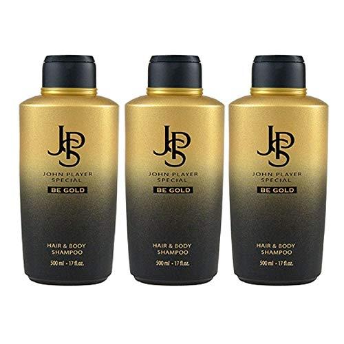 John Player Special Be Gold Hair & Body Shampoo, 3 x 500 ml