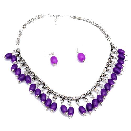 PENDIENTES COLLAR CON CUENTAS DE PLAN Púrpura, 18 'de largo, chapado en plata de ley, joyería artística hecha a mano, tienda de variedad completa