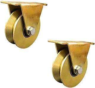 2 V-Groove stalen stuurwielen stijve high-performance wielen Roller met katrol dubbel lagend goud voor industriële machine...