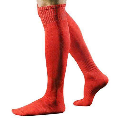 Calze lunghe da calcio Tefamore - Calza sportiva da uomo sopra al ginocchio per baseball, hockey, calcio, Red