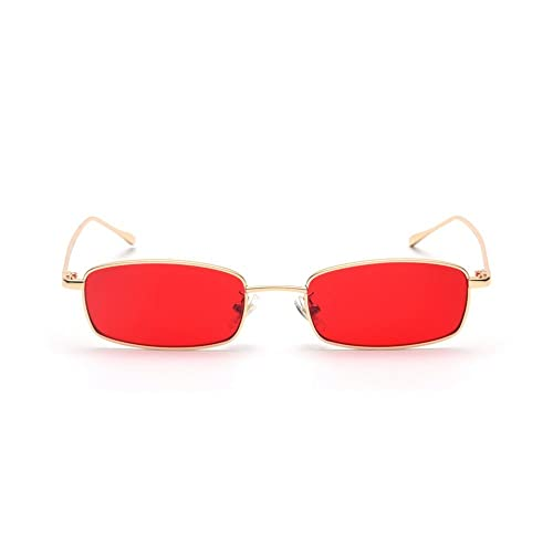 2b45c1d1f5 MINCL Unisex Rectangle Red lens Yellow Metal Frame Clear Lens Sun Glasses
