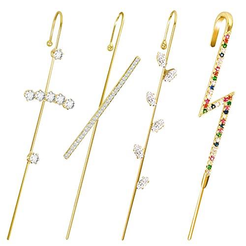 Pendientes de gancho, 4 piezas de aretes para mujer, hipoalergénicos, dorados, con perlas de imitación, circonita cúbica, para mujer, fiesta, boda