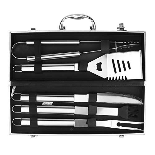 Brynnl 5-teiliges Grill-Werkzeugset, Hochleistungs-Grill-Grill-Zubehörset aus Edelstahl mit Aluminiumgehäuse, dickerem Spatel, Gabel, Zange und Ölbürste, Grillwerkzeug für Camping im Garten