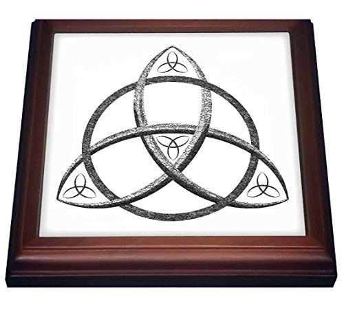 3dRose A black and white triquetra Celtic trinity knot symbol. - Trivets (trv_333410_1)