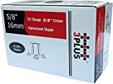 3PLUS 71/16 22 Gauge 3/8-Inch Crown 5/8-Inch Leg Length Galvanized Fine Wire Staples, 10,000 per Box