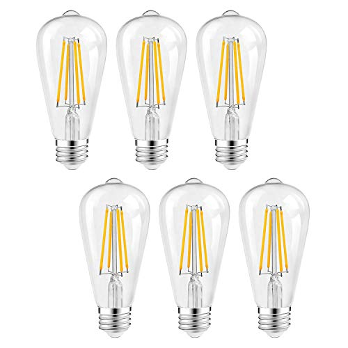 Vintage 60 Watt Light Bulbs Dimmable, ST64 LED Edison Bulbs, 6W Energy-Saving Night Light Bulb, 2700K 800 Lumen Soft White, E26 Base LED Filament Bulbs, Antique Clear Glass Style, Pack of 6