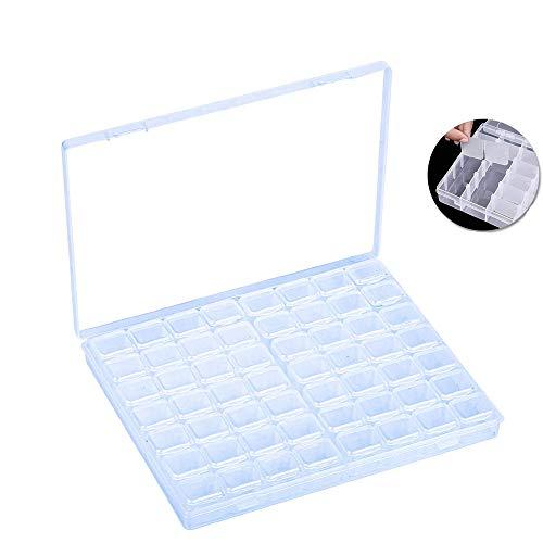 56 Rejillas Caja de Almacenamiento, Organizador de Almacenamiento de Plástico Transparente, con Compartimento Pequeño Ajustable, para Accesorios de Decoración de Uñas, Pendientes, Collares, Cuentas