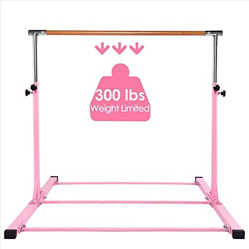 Dai&F Gymnastics Bar for Kids, Height Adjustable Junior Gymnastics Training Bar, Horizontal Kip Bar Ideal for Gymnasts 1-4 Levels for Home, 300 lbs Weight Capacity Pink