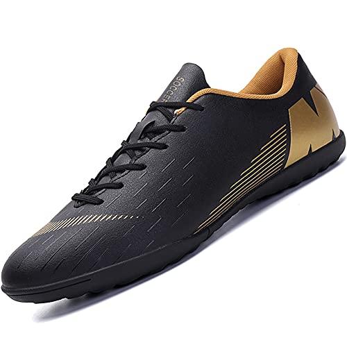 Topwolve Zapatillas de Fútbol Hombre Atletismo Training Botas de Fútbol Profesionales Aire Libre Zapatillas de Deporte de Fútbol para Niños Negro 43 EU
