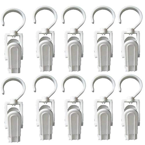 EvaGO 10 Pack Super Strong Plastic Swivel Hooks Laundry Clips with Hooks for Home Office Workshop Travel 43 inch White
