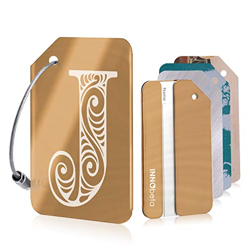 Initial Luggage Tags for Men and Women, Personalised Stainless Steel Luggage Labels for Suitcases, with 3 Bonus Name ID Cards and 2 Stainless Steel Loops, Rose Gold, Letter J