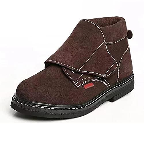Zapatos de trabajo Botas de soldador altas para hombre, tapa de punta de acero y zapatos de trabajo de metal de metal, de gamuza ligero, tobillo de cuero, cocina, industrial y construcción, entrenador