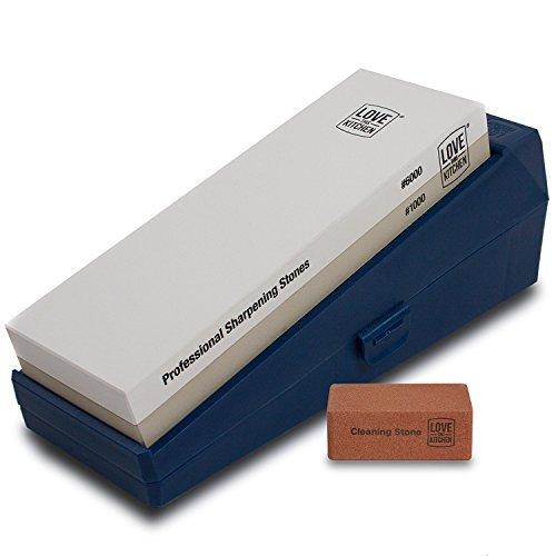 "Premium Dual Whetstone Knife Sharpener, Grits 1000/6000. Larger 8.25"" x 2.75"" Knife Sharpening Stone for Kitchen Knives. Wet Stone Sharpening Kit with Non-Slip Case, Dual Angle Base & Flattening Stone"