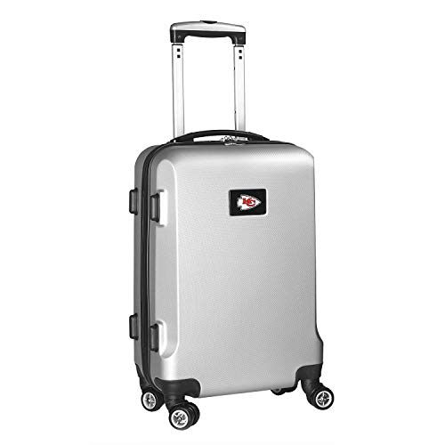 Save %6 Now! Denco NFL Kansas City Chiefs Carry-On Hardcase Luggage Spinner, Silver