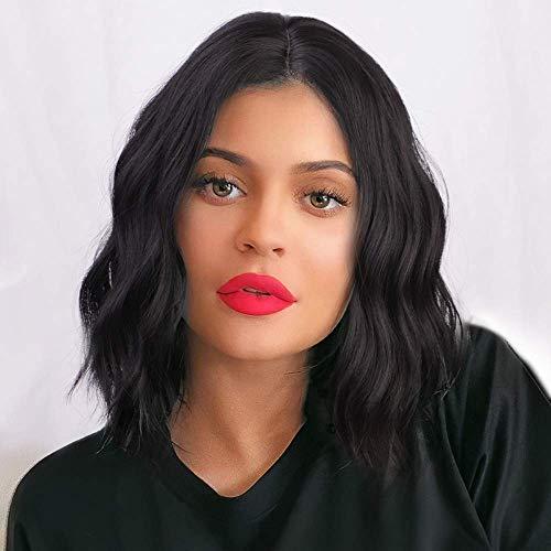 PORSMEER Peluca Corta Ondulada Negra Bob para Mujer, Color Natural Onda Rizado Brasileña Pelo Completo Sintéticas Hecho a Máquina Pelucas para Cosplay Disfraz o Diariamente (color:1B#)