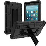 Shockproof Case for Fire 7 Tablet, Elepower Heavy Duty Rugged Armor Build in Kickstand Full Body Protective Cover for All-New Amazon Kindle Fire 7 Tablet (9th Generation 2019 Release) Black
