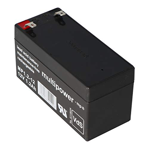 Multipower Bleigelakku/Blei Gel Akku/12V/1,2Ah/MP1.2-12/VRLA Batterie/Wartungsfrei/Betriebsbereit/hohe Zyklenfestigkeit