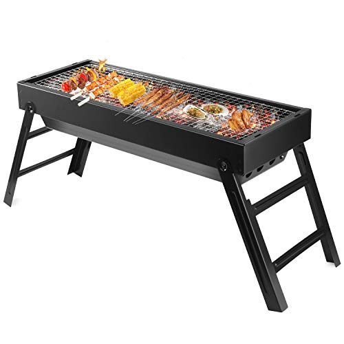 """LETION UTTORA Charcoal Grill Barbecue Portable BBQ &Stainless Steel Folding Grill Tabletop Outdoor Smoker BBQ for Picnic Garden Terrace Camping Travel 23.62"""" x8.66"""" x12.4"""""""