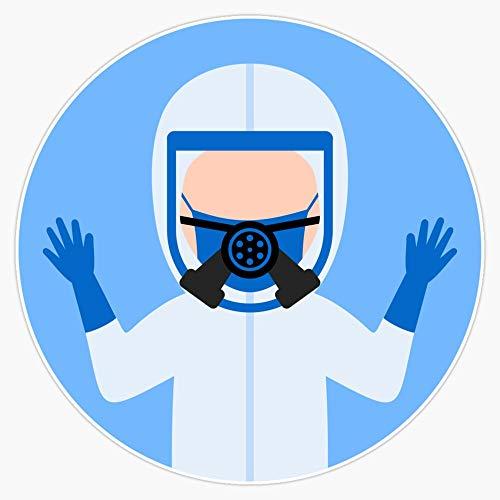 The doctor uses a hazmat suit to help coronavirus patients. Decal Vinyl Bumper Sticker 5'