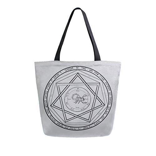 SLHFPX Reusable Grocery Bags Supernatural Demon Devil's Womens Large Canvas Tote Bag Foldable Shoulder Shopping Bag Handbag